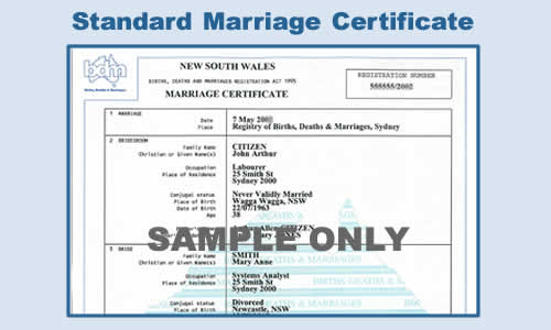 Free NSW Standard Marriage Certificate For 12 Months